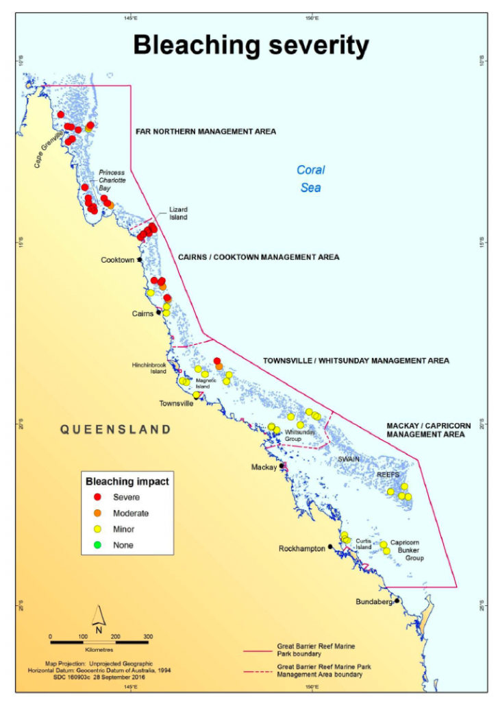 Map showing Great Barrier Reef coral bleaching severity.