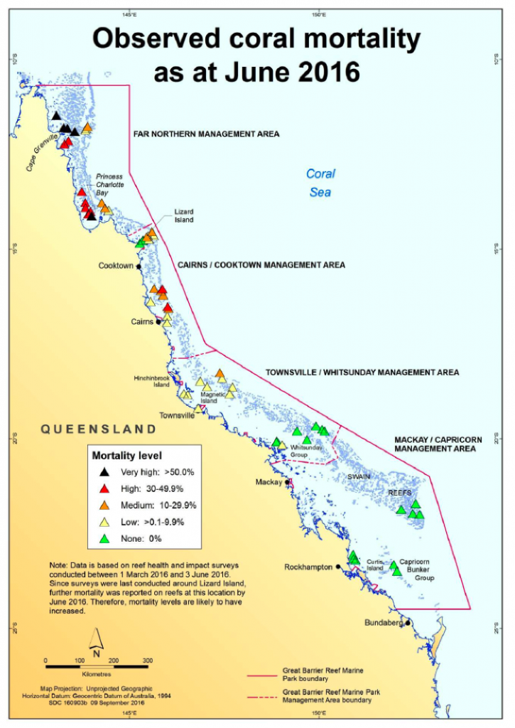 Map showing coral mortality.