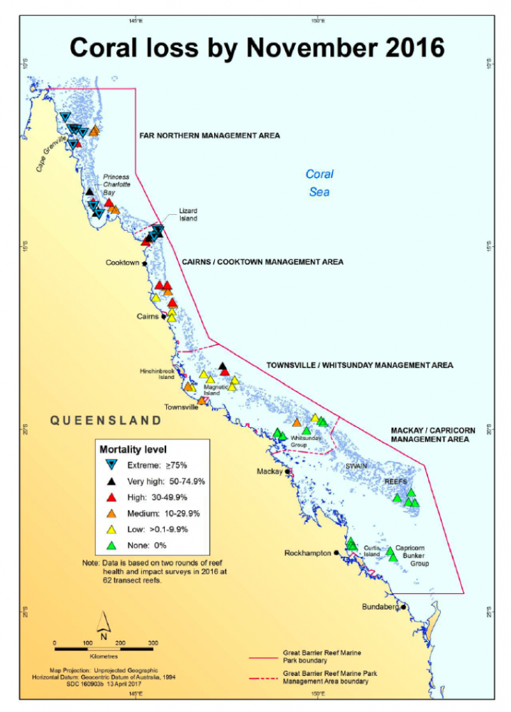 Map showing coral loss by November 2016.