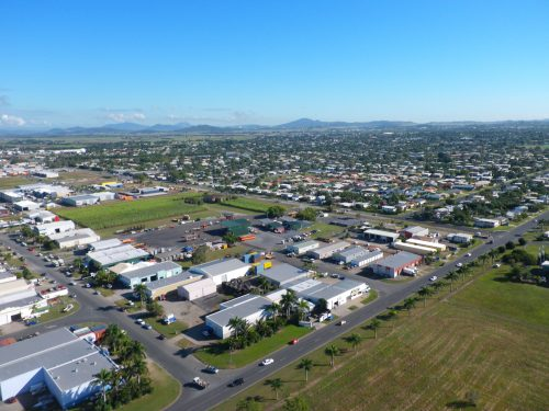 Aerial view of Mackay suburbs.