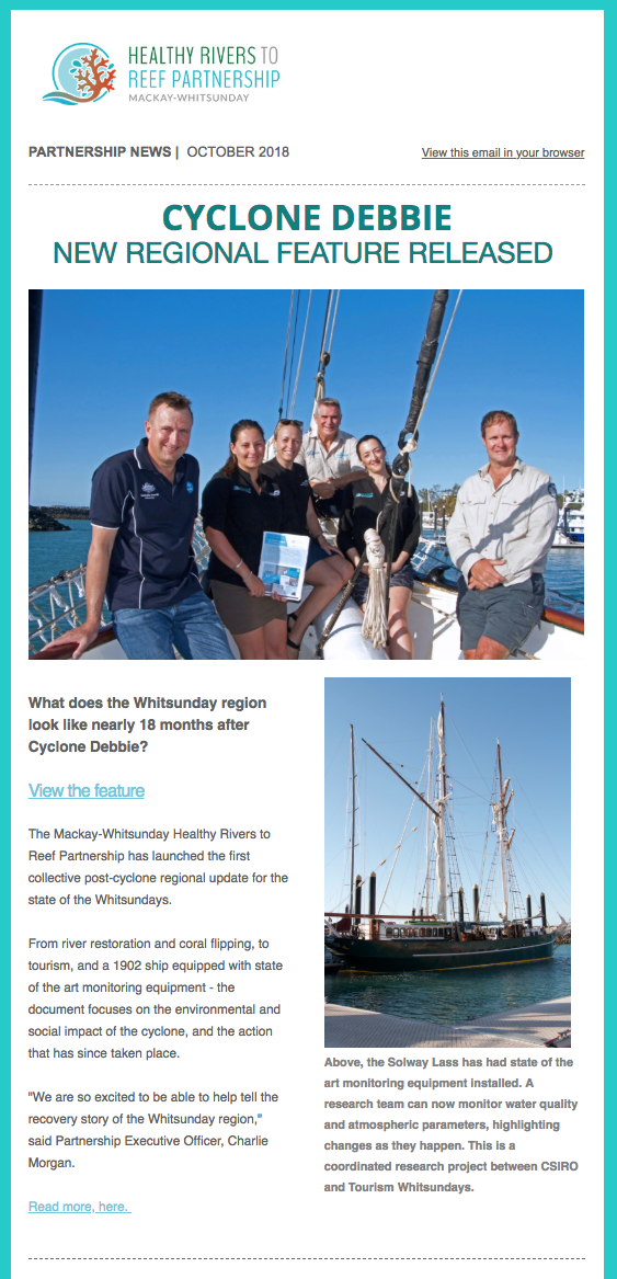Healthy Rivers to Reef newsletter.