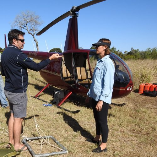 Ricci Churchill preparing for a sea grass survey via helicopter