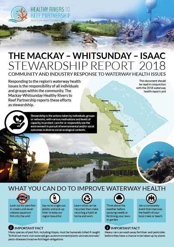 Cover for Mackay Whitsunday Isaac stewardship report 2018.