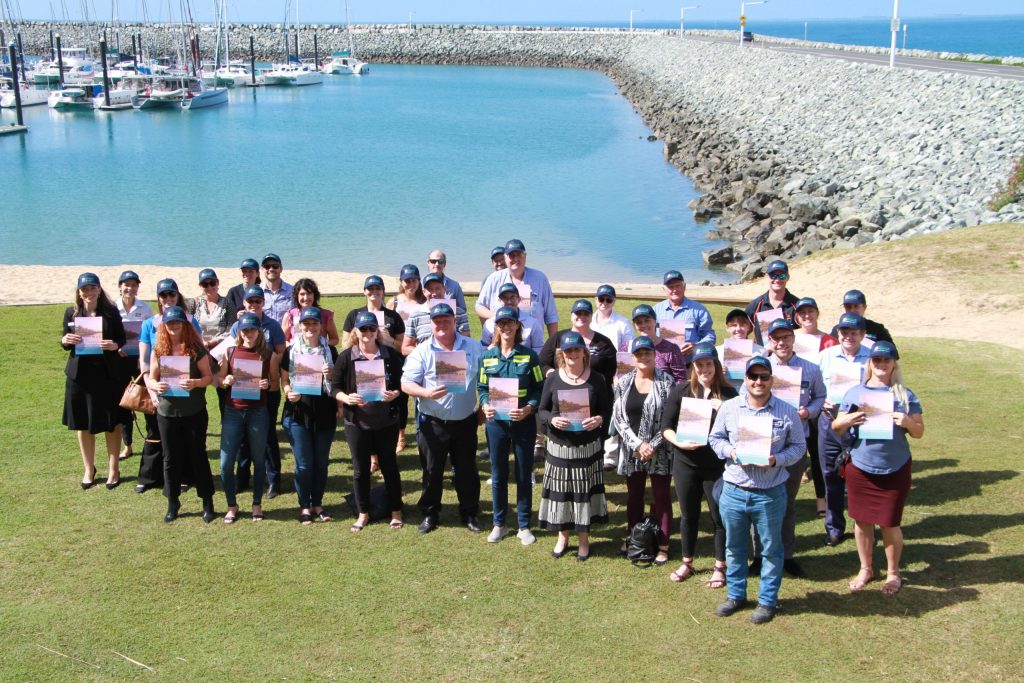 Healthy Rivers to Reef Partnership Citizen Science group on foreshore.